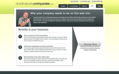 Screenshot of Signup Page doubleglazingcompanies.com - Double Glazing Help - Double Glazing Companies - captured Oct. 5, 2014