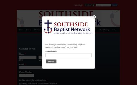 Screenshot of Contact Page southsidebaptistnetwork.org - Contact Us - captured Nov. 1, 2017