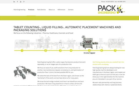 Screenshot of Products Page pack-engineering.com - Products,Doypack,Tablet counting,liquid filling, automatic placement - captured Oct. 17, 2016