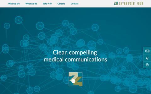 Screenshot of Home Page sevenpointfour.biz - 7.4 Limited – Medical Communications - captured Nov. 15, 2018