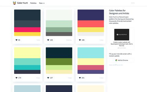 Screenshot of Home Page colorhunt.co - Color Hunt - Beautiful Color Palettes - captured June 1, 2018