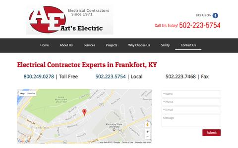 Screenshot of Contact Page artselectric.com - Electrical Experts - Frankfort KY - Art's Electric - captured April 27, 2017