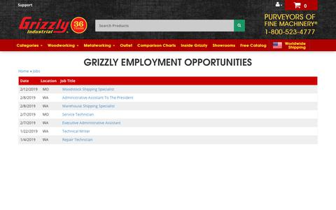 Screenshot of Jobs Page grizzly.com - Grizzly.com -- Current Employment Positions Available - captured Feb. 19, 2019