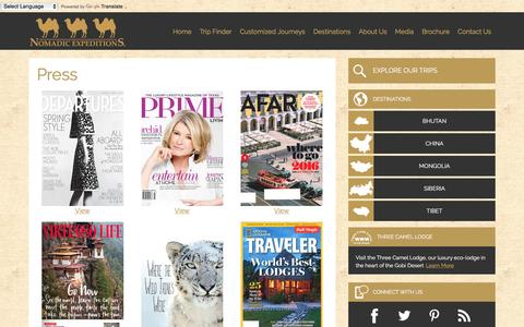 Screenshot of Press Page nomadicexpeditions.com - Press - Nomadic Expeditions - captured Feb. 27, 2016
