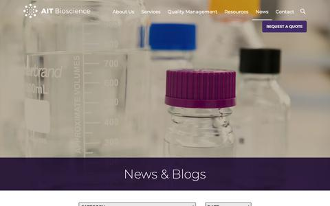Screenshot of Press Page aitbioscience.com - News and Blog - AIT Bioscience - captured June 2, 2019