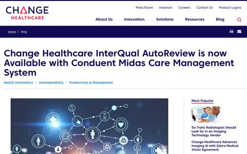Screenshot of Team Page changehealthcare.com - Change Healthcare InterQual AutoReview is now Available with Conduent Midas Care Management System | Change Healthcare - captured Feb. 20, 2020