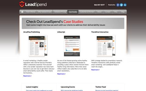 Screenshot of Case Studies Page leadspend.com captured June 16, 2015