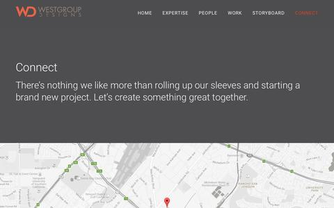 Screenshot of Contact Page westgroupdesigns.com - Connect - Westgroup Designs - captured Feb. 14, 2016