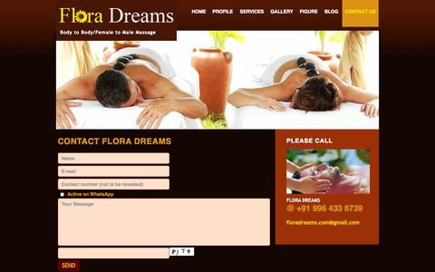 Screenshot of Contact Page floradreams.com - Contact us - Massage Centre in Bangalore - captured Oct. 6, 2014