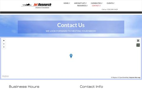 Screenshot of Contact Page jet-research.com - Jet Research - A  full service technical aviation consulting firm - captured June 8, 2017