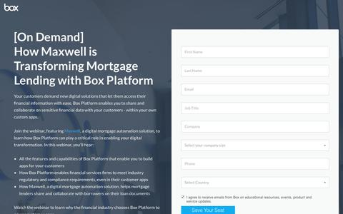 Screenshot of Landing Page box.com - How Maxwell is Transforming Mortgage Lending with Box Platform - captured Sept. 4, 2017