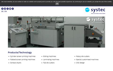 Screenshot of Products Page systec-bielefeld.de - Products/Technology | Systec Grafische Maschinensysteme - captured Oct. 27, 2017
