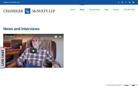 Screenshot of Press Page chandlermcnulty.com - Media: News & Interviews | Chandler McNulty Personal Injury Attorney - captured Sept. 27, 2018