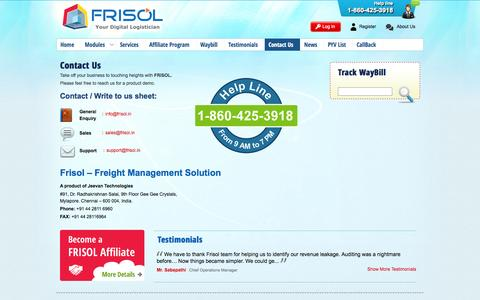 Screenshot of Contact Page frisol.in - Reach Us   frisol product demo   Frisol.in - frisol.in - captured Sept. 30, 2014