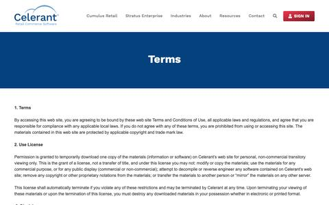 Screenshot of Terms Page celerant.com - Terms – Celerant Technology - captured April 27, 2019