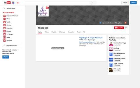 Screenshot of YouTube Page youtube.com - YogaBugs  - YouTube - captured Nov. 5, 2014