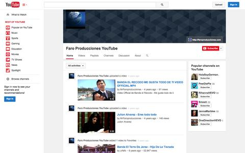 Screenshot of YouTube Page youtube.com - Faro Producciones YouTube  - YouTube - captured Oct. 23, 2014
