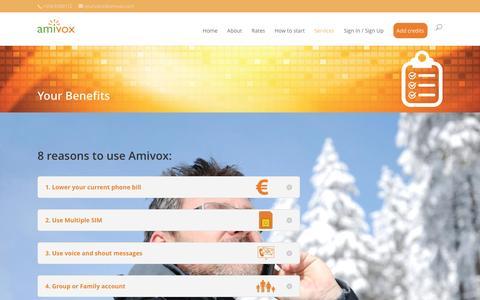 Screenshot of Services Page amivox.com - Features - amivox.com - captured Dec. 25, 2015