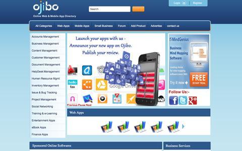 Screenshot of Home Page ojibo.com - Ojibo - captured Feb. 21, 2016