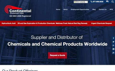 Screenshot of Home Page continentalchemicalusa.com - Standard | Custom Blended | Maintenance Chemicals - Continental Chemical - captured July 24, 2015