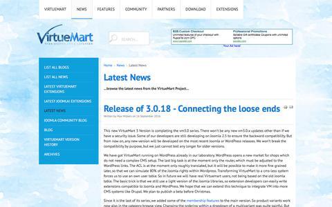 Screenshot of Press Page virtuemart.net - Latest News - captured Oct. 20, 2016
