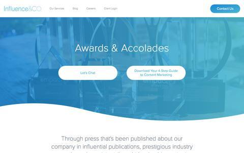 Screenshot of Press Page influenceandco.com - Influence & Co. | Press and Awards - captured April 13, 2018