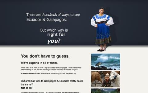Screenshot of Landing Page masonhorvath.com - Thank you - Ecuador & Galapagos - captured May 26, 2016