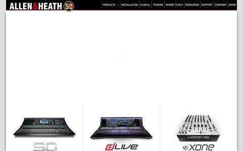Screenshot of Home Page allen-heath.com - Allen & Heath - Professional audio mixing consoles - captured June 12, 2019