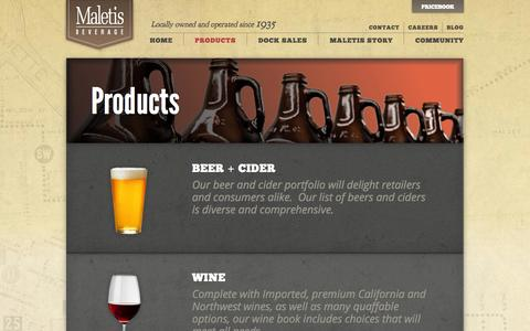 Screenshot of Products Page maletis.com - Maletis Beverage  • Products - captured Oct. 3, 2014
