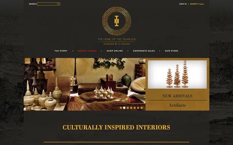 Screenshot of Home Page thehomeofthetraveler.com - JJ Valaya| Designer Home Accessories| Interior Design Store for Home Delhi, India - captured Sept. 30, 2014