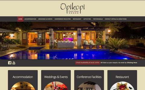 Screenshot of Home Page opikopi.co.za - Opikopi Guest House - Home - captured Sept. 13, 2015