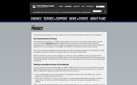 Screenshot of Privacy Page pwc.ca - Privacy | Pratt & Whitney Canada - captured Jan. 30, 2016