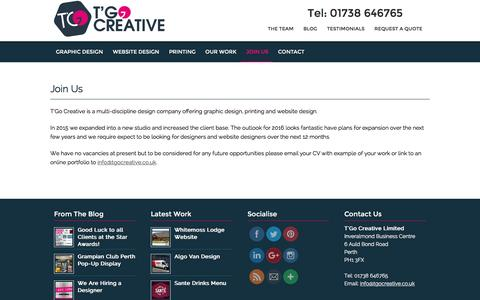 Screenshot of Signup Page tgocreative.co.uk - Join Us – T'Go Creative Graphic Design, Website Design and Printers in Perth - captured Jan. 23, 2016
