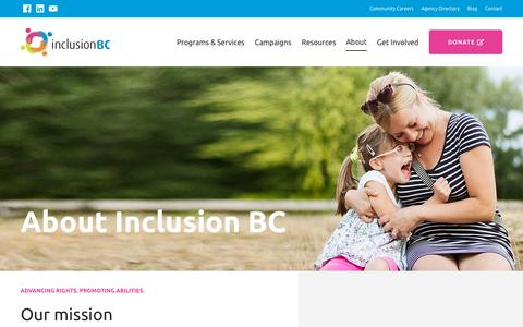Screenshot of About Page inclusionbc.org - About | Inclusion BC - captured Dec. 19, 2018