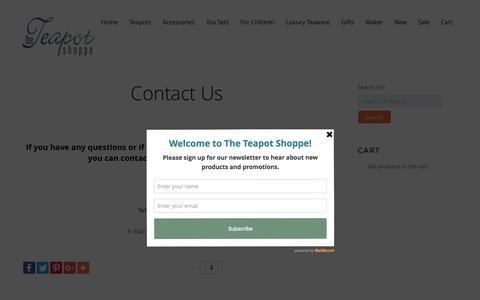 Screenshot of Contact Page theteapotshoppe.com - Contact Us - The Teapot Shoppe, Inc. - captured Aug. 15, 2016