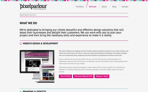 Screenshot of Services Page pixelparlour.co.uk - Services | The Pixel Parlour | Web Design Agency, London - captured Nov. 30, 2016