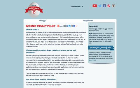 Screenshot of Privacy Page safeeggs.com - Internet Privacy Policy - captured Sept. 22, 2018
