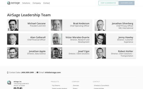 Screenshot of Team Page airsage.com - Team | AirSage - captured Jan. 18, 2019