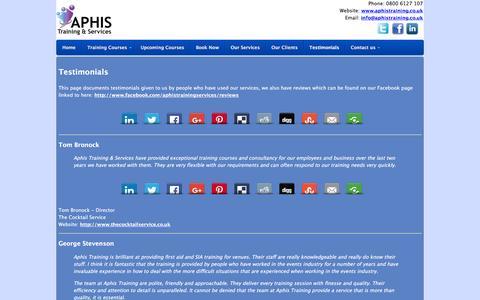 Screenshot of Testimonials Page aphistraining.co.uk - Testimonials | Aphis - captured Feb. 6, 2016