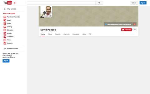 Screenshot of YouTube Page youtube.com - David Pollock  - YouTube - captured Oct. 23, 2014