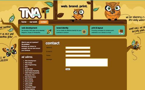 Screenshot of Contact Page tnastudio.com - TNA studio | Web. Brand. Print. | Teach. Nurture. Aspire. - Contact Us - captured Sept. 30, 2014
