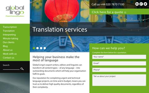 Screenshot of Home Page global-lingo.com - Professional Translation and Transcription services | Global Lingo - captured Sept. 23, 2014