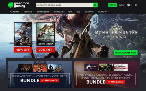 Screenshot of Home Page greenmangaming.com - Green Man Gaming | Buy Games, Game Keys & Digital Games Today - captured July 11, 2018