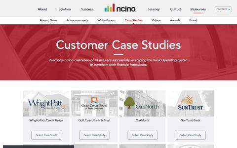 Screenshot of Case Studies Page ncino.com - Customer Case Studies - captured Oct. 30, 2018