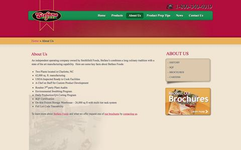 Screenshot of About Page stefanofoods.com - Stefano Foods - Italian Food Manufactures - captured March 2, 2016