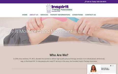 Screenshot of About Page inspiritpt.com - Physical Therapist in Green Bay, WI | Inspirit Therapy Associates - captured Nov. 14, 2018