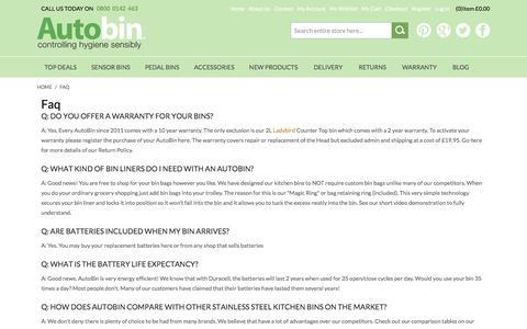 Screenshot of FAQ Page autobin.co.uk - FAQ - captured Dec. 27, 2015