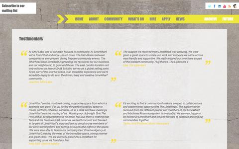 Screenshot of Testimonials Page limewharf.org - Limewharf      Testimonials - captured May 19, 2017