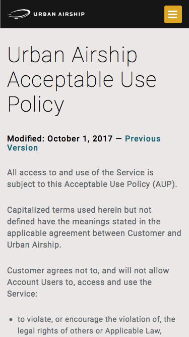 Screenshot of Support Page Terms Page  urbanairship.com - Acceptable Use Policy | Legal | Urban Airship