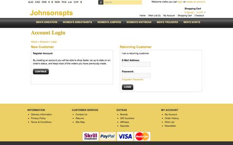 Screenshot of Login Page johnsonspts.co.uk - Account Login - captured June 8, 2017